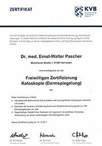 Zertifizierung Koloskopie